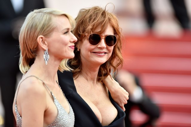 """Actresses Naomi Watts and Susan Sarandon attend the """"Money Monster"""" premiere during the 69th annual Cannes Film Festival at the Palais des Festivals on May 12, 2016 in Cannes, France. (Photo by Pascal Le Segretain/Getty Images)"""