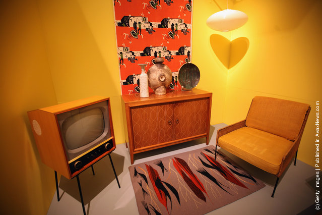 Typical 60's furniture is display at the Victoria and Albert museums' new major exhibition