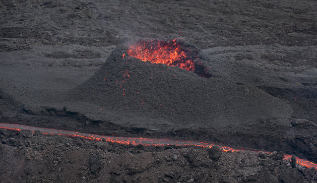 "Lava erupts from the Piton de la Fournaise ""Peak of the Furnace"" volcano, on the southeastern corner of the Indian Ocean island of Reunion Saturday, August 1, 2015. (Photo by Ben Curtis/AP Photo)"