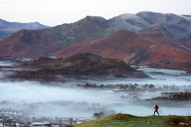 Mist over the town of Keswick in the Lake District, England after temperatures dipped to minus 2 degress Celsius on November 18, 2019. (Photo by Owen Humphreys/PA Images via Getty Images)
