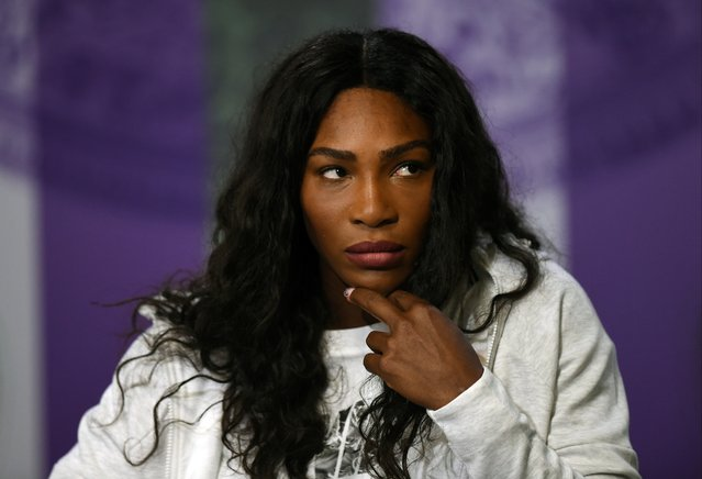 Serena Williams of the U.S gives her pre-Championships press conference at The All England Lawn Tennis Club, ahead of the Wimbledon Tennis Championships in London, Sunday, June 26, 2016. (Photo by Florian Eisele/Pool Photo via AP Photo)