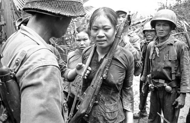 A Russian-made rifle, carried by this woman when she was captured in Nearby Brush, is slung around her neck by South Vietnamese soldiers before they began their interrogation of her as Viet Cong suspect near AP La Ghi in Vietnam, August 25, 1965. The girl behind the woman, also was captured in the brush. (Photo by AP Photo)