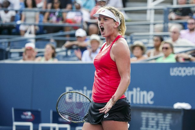 Coco Vandeweghe of the U.S. celebrates after defeating compatriot Sloane Stephens during their match at the U.S. Open Championships tennis tournament in New York, August 31, 2015. (Photo by Lucas Jackson/Reuters)