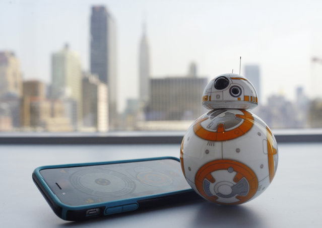 """This Thursday, September 3, 2015 photo shows Sphero's BB-8 droid toy in New York. The BB-8 is controlled with a smartphone or tablet app and responds to basic voice commands such as """"wake up"""", and """"look around"""". It's just under 5-inches tall and makes cute little Droid sounds reminiscent of R2-D2. (Photo by Patrick Sison/AP Photo)"""