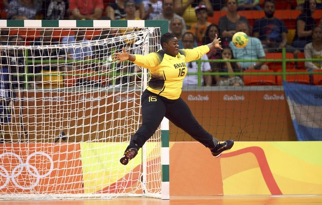 2016 Rio Olympics, Handball, Preliminary, Women's Preliminary Group A Romania vs Angola, Future Arena, Rio de Janeiro, Brazil on August 6, 2016. Goalkeeper Teresa Almeida (ANG) of Angola saves. (Photo by Marko Djurica/Reuters)