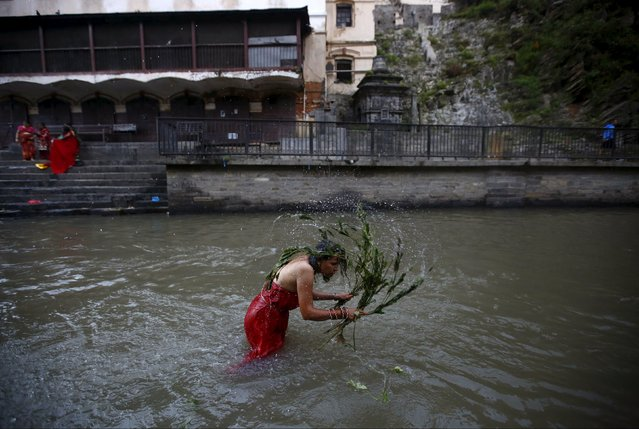 A woman lashes herself with the leaves of the Aghada plant at the Bagmati River, during the Rishi Panchami festival, in Kathmandu, Nepal September 18, 2015. (Photo by Navesh Chitrakar/Reuters)