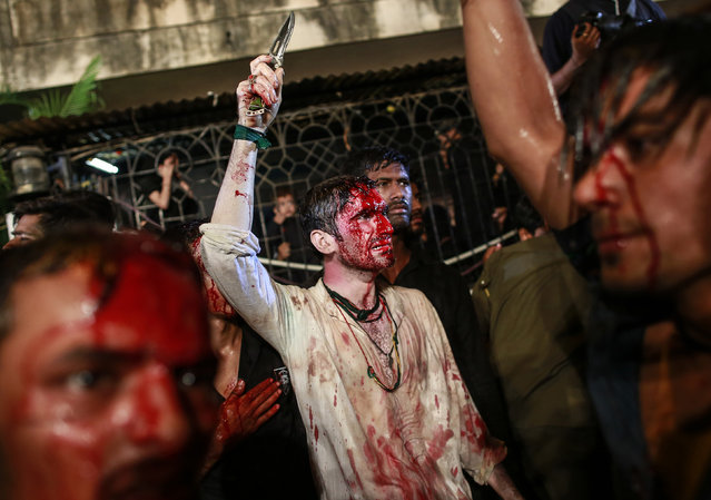 Shi'ite Muslims flagellate themselves during a Muharram procession ahead of Ashura in Mumbai November 3, 2014. (Photo by Danish Siddiqui/Reuters)