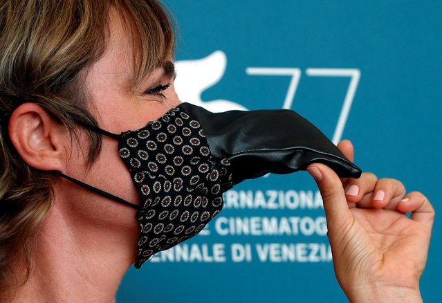"""Australian actress Radha Mitchell attends the photocall of the movie """"Run Hide Fight"""" at the 77th Venice Film Festival on September 10, 2020 in Venice, Italy. (Photo by Guglielmo Mangiapane/Reuters)"""