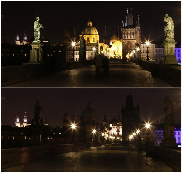 A combination of pictures shows the medieval Charles Bridge in Prague before (top) and during Earth Hour March 23, 2013. Earth Hour, when everyone around the world is asked to turn off lights for an hour from 8.30 p.m. local time, is meant as a show of support for tougher action to confront climate change. (Photo by Petr Josek/Reuters)