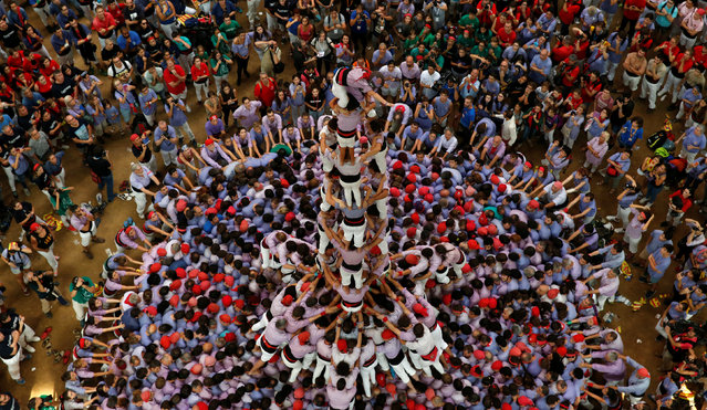 """Colla Jove Xiquets de Tarragona form a human tower called """"castell"""" during a biannual competition in Tarragona city, Spain, October 2, 2016. (Photo by Albert Gea/Reuters)"""