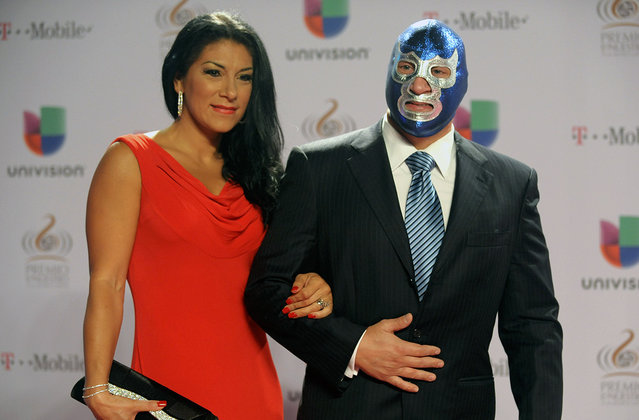 "Mexican luchador / professional wrestler Blue Demon Jr. arrives at the 25th Anniversary Of Univision's ""Premio Lo Nuestro A La Musica Latina"" on February 21, 2013 in Miami, Florida. (Photo by Gustavo Caballero/Univision /The Atlantic)"