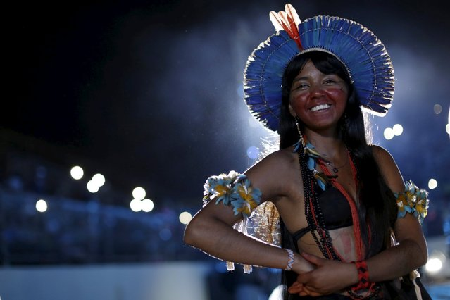 An indigenous woman smiles during the closing ceremony of the first World Games for Indigenous Peoples in Palmas, Brazil, October 31, 2015. (Photo by Ueslei Marcelino/Reuters)