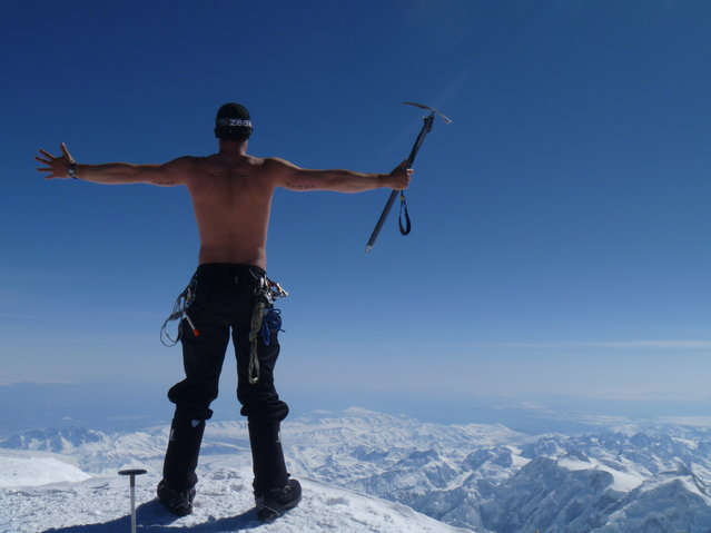 """Living"". An unreal warm day on the summit of Denali after 11 days of hiking. 20,320 feet and shirtless! Location: Denali National Park, Alaska, USA. (Photo and caption by Clay Roberts/National Geographic Traveler Photo Contest)"