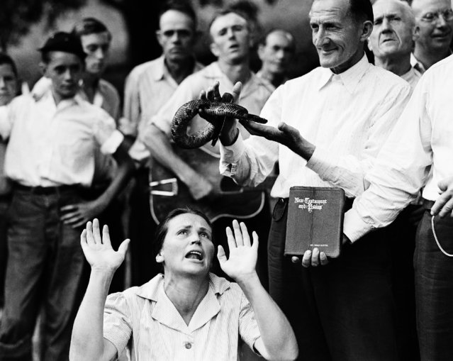 """Members of the Pentecostal Church of God, a faith healing sect, surround a woman who has """"Got the Spirit"""" as a man holds a snake above her head in Evarts, Ky., August 22, 1944. Although a Kentucky statute passed in 1940 forbids the handling of snakes in connection with religious services, this sect revived the ritual after the recent death of a native of the region who was bitten by rattlesnake. (Photo by AP Photo)"""