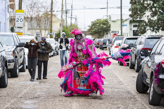 The Timbuktu Warriors Mardi Gras Indians mask on St. Joseph's night  on March 19, 2021 in New Orleans, Louisiana. (Photo by Erika Goldring/Getty Images)