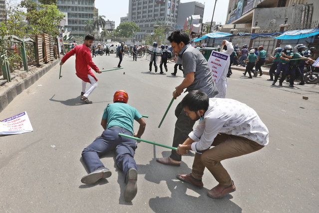 A clash has broken out among the police and the protesters on March, 25, 2021 against Indian prime minister Narendra Modi's upcoming visit in Motijheel, Dhaka, Bangladesh. (Photo by Harun-Or-Rashid/ZUMA Wire/Rex Features/Shutterstock)