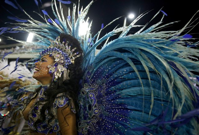 Beija flor samba school drum queen Rayssa Oliveira participates in the annual carnival parade in Rio de Janeiro's Sambadrome, February 16, 2015. (Photo by Pilar Olivares/Reuters)