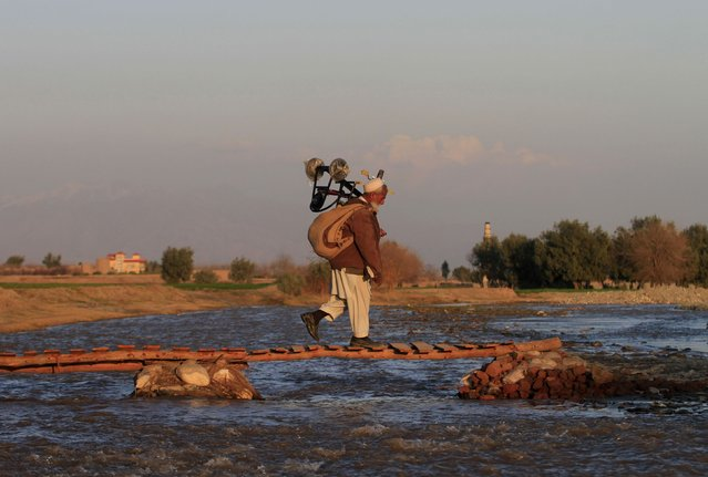 An Afghan man walks on a makeshift foot bridge on the outskirts of Jalalabad city, January 27, 2015. (Photo by Reuters/Parwiz)