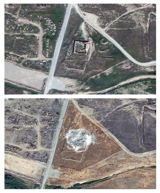 This combination of two satellite images provided by DigitalGlobe, taken on March 31, 2011, top, and September 28, 2014, shows the site of the 1,400-year-old Christian monastery known as St. Elijah's, or Dair Mar Elia, on the outskirts of Mosul, Iraq. These satellite photos obtained by The Associated Press in January 2016 confirm what church leaders and Middle East preservationists had feared: The monastery has been reduced to a field of rubble, yet another victim of the Islamic State's relentless destruction. (Photo by DigitalGlobe via AP Photo)