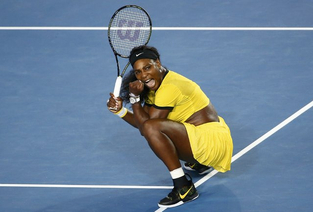 Serena Williams of the U.S. celebrates after winning her semi-final match against Poland's Agnieszka Radwanska at the Australian Open tennis tournament at Melbourne Park, Australia, January 28, 2016. (Photo by Jason O'Brien/Reuters/Action Images)