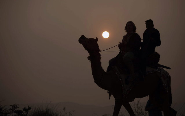 Tourists enjoy a camel ride at the annual cattle fair in Pushkar, in the western Indian state of Rajasthan, India, Saturday, November 9, 2013. (Photo by Ajit Solanki/AP Photo)