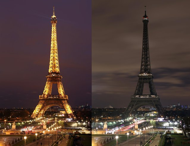 In this two photo combination picture, the Eiffel Tower with its usual lighting at left, and after the lighting was switched off at right, at the occasion of the Earth Hour, in Paris, France, Saturday March 28, 2015. This Saturday, 28 March 8:30 p.m. local time, individuals, businesses, cities and landmarks around the world are switching off their lights for one hour to focus attention on climate change. (Photo by Remy de la Mauviniere/AP Photo)