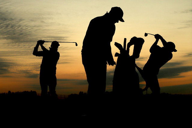 Rickie Fowler and Brooks Koepka of the United States practice on the range prior to the morning fourball matches of the 2018 Ryder Cup at Le Golf National on September 28, 2018 in Paris, France. (Photo by Jamie Squire/Getty Images)