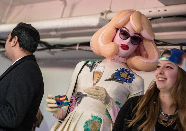 """A guest in an unusual inflatable outfit attends punk themed """"On Off Presents Punk Diversity"""" fashion show during London Fashion Week on February 19, 2016 in London, England. (Photo by Chris Ratcliffe/Getty Images)"""