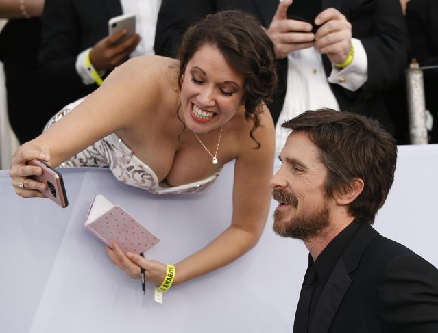 Christian Bale arrive at the 25th annual Screen Actors Guild Awards at the Shrine Auditorium & Expo Hall on Sunday, January 27, 2019, in Los Angeles. (Photo by Mario Anzuoni/Reuters)