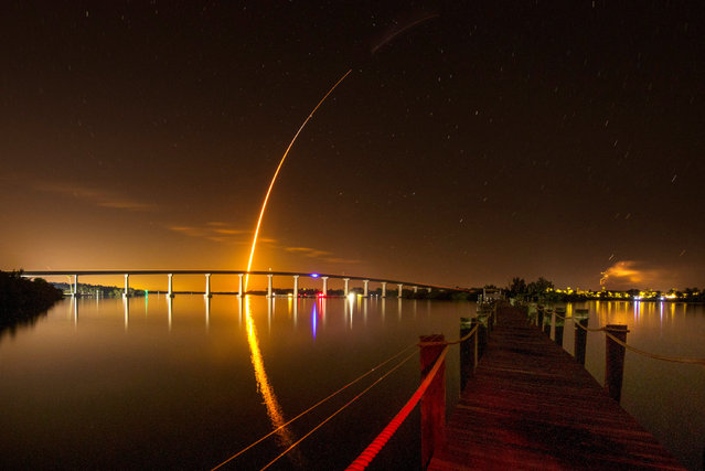 A SpaceX Falcon 9 rocket, carrying the Crew Dragon spacecraft, lifts off on an uncrewed test flight to the International Space Station from the Kennedy Space Center as viewed in Vero Beach, Florida, U.S., March 2, 2019. (Photo by Joe Rimkus Jr./Reuters)