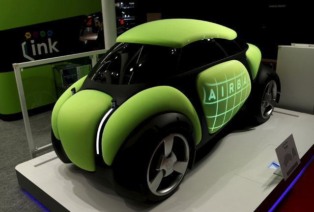 """Toyoda Gosei Co Ltd's personal mobility concept airbag car """"Flesby"""" is displayed at the 44th Tokyo Motor Show in Tokyo Wednesday, October 28, 2015. (Photo by Yuya Shino/Reuters)"""