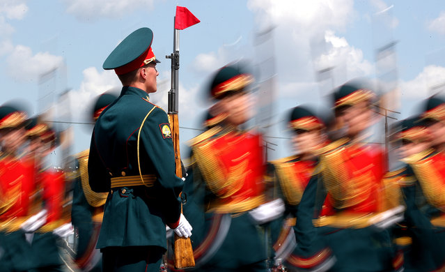 Servicemen involved in a military parade in Kazan, Russia on May 9, 2019 as part of events marking the 74th anniversary of the victory over Nazi Germany in the Great Patriotic War of 1941-1945, the Eastern Front of the Second World War. (Photo by Yegor Aleyev/TASS)