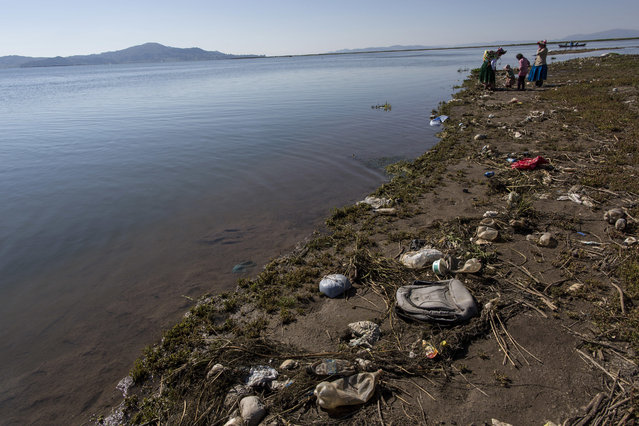 """In this February 3, 2017 photo, trash covers the shores of Lake Titicaca where environmental activist Maruja Inquilla talks to locals in Coata, in the Puno region of Peru. Inquillla is alerting neighboring villagers of the dangers lurking in their food and water. """"If the frogs could talk they would say, This is killing me"""", she said. (Photo by Rodrigo Abd/AP Photo)"""