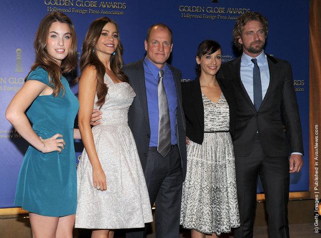 Miss Golden Globe Rainey Qualley, actors Sofia Vergara, Woody Harrelson, Rashida Jones, and Gerard Butler