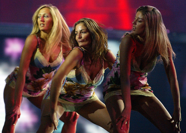 In this Saturday, May 21, 2005 file photo, dancers with Matrin Vucic of  Macedonia perform during the rehearsal for the Eurovision Song Contest in Kiev, Ukraine. There are always some risque performances at the annual competition and no doubt there will be more at this year's event in the Swedish capital Stockholm, the final of which takes place on Saturday, May 14. (Photo by Sergey Ponomarev/AP Photo)