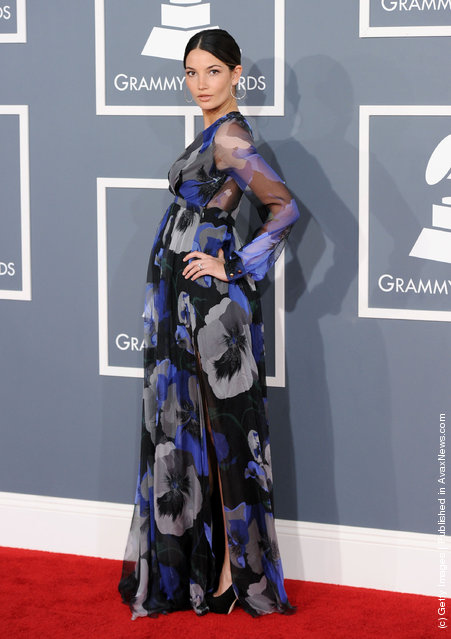 Model Lily Aldridge arrives at the 54th Annual GRAMMY Awards held at Staples Center