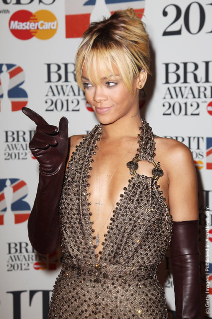 Rihanna attends The Brit Awards 2012 at The O2 Arena