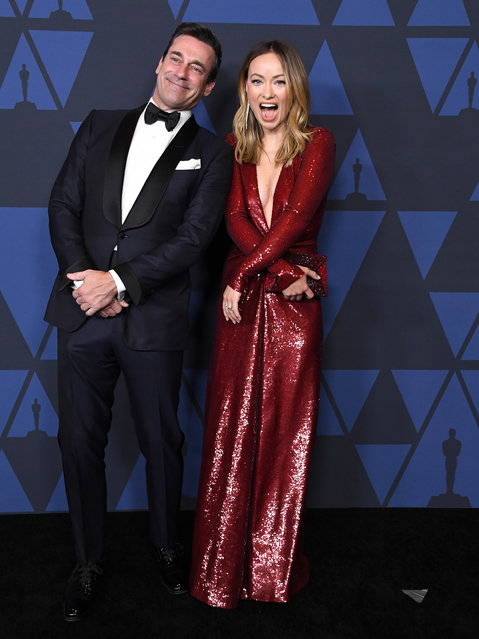 Jon Hamm and Olivia Wilde arrives at the Academy Of Motion Picture Arts And Sciences' 11th Annual Governors Awards at The Ray Dolby Ballroom at Hollywood & Highland Center on October 27, 2019 in Hollywood, California. (Photo by Steve Granitz/WireImage)