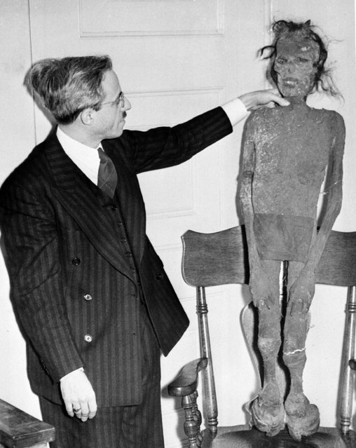 """Coroner Samuel R. Gerber of Cleveland, Ohio, who has investigated Cleveland's 12 """"torso murders"""", examines a plastic dummy which he received in the mail, shown February 16, 1939. """"Somebody"""", he opined, """"possibly the torso killer himself, is playing grim jokes on me"""". (Photo by AP Photo)"""