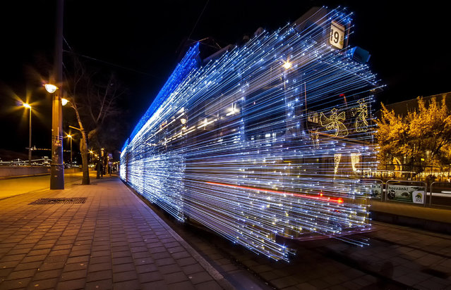 Long Exposure Turn Budapest Trams