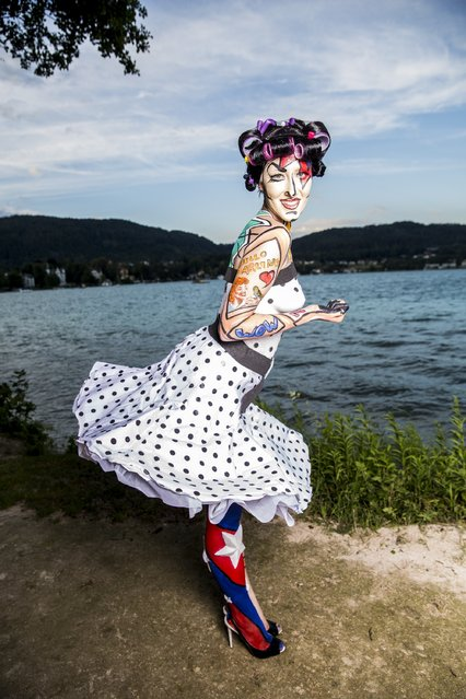 A model poses at the World Bodypainting Festival 2014 on July 5, 2014 in Poertschach am Woerthersee, Austria. (Photo by Jan Hetfleisch/Getty Images)
