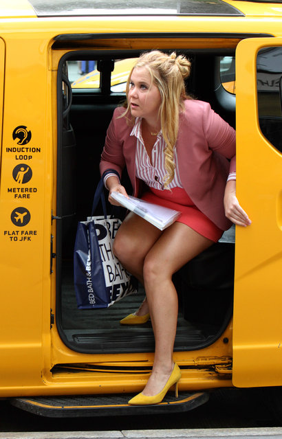 "Amy Schumer on the set of her new film ""I Feel Pretty"" in New York City on July 27, 2017. (Photo by Jose Perez/Startraksphoto.com)"