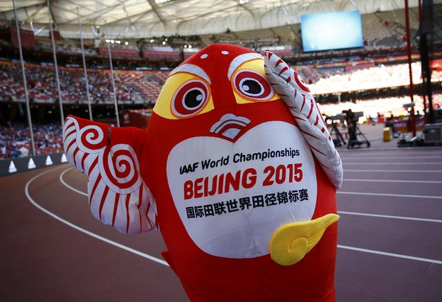 A mascot of  the 15th IAAF World Championships performs near the tracks at the National Stadium, also known as the Birds' Nest, in Beijing, August 22, 2015. (Photo by Kai Pfaffenbach/Reuters)