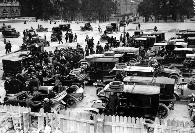 Commandeered private automobiles for army usage parked in Paris, 1914.