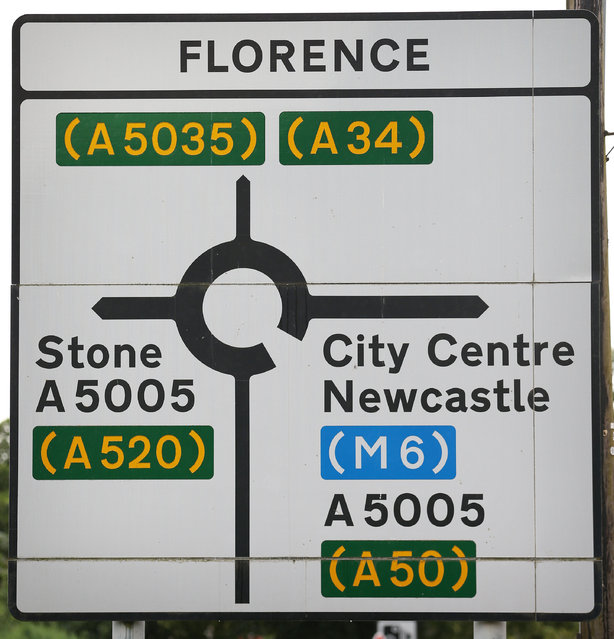 A road sign poits the way on August 5, 2013 in Florence, England. Florence, in the county of Staffordshire, takes it's name from a colliery opened here in the 1870s by the 3rd Duke of Sutherland and named after his eldest daughter. The pit closed in 1990. (Photo by Peter Macdiarmid/Getty Images)