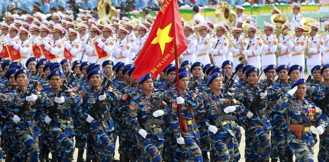Vietnamese soldiers of marine patrol force march during a parade marking their 70th National Day at Ba Dinh square in Hanoi, Vietnam September 2, 2015. (Photo by Reuters/Kham)