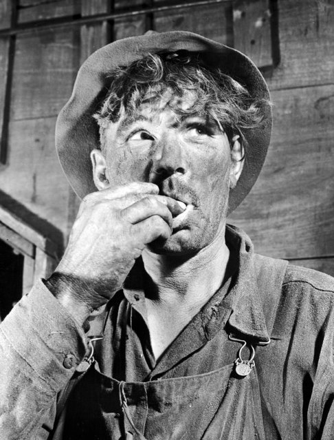 At the end of a hot day amid the dust of a wheat harvest, farmer, Paul Ertelt of Oriska, N.D., wears the mark of his toil in this August 18, 1938 photo. The grime on his skin and the dust on his clothes give him the appearance of a coal miner instead of one who works in the great outdoors. (Photo by AP Photo)