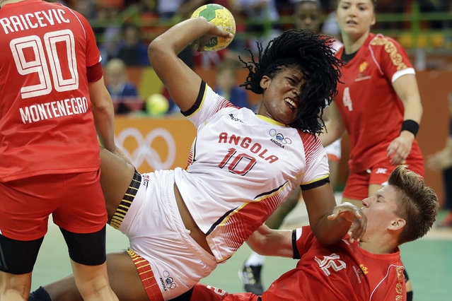 Angola's Albertina Cruz Kassoma scores a goal during the women's preliminary handball match between Angola and Montenegro at the 2016 Summer Olympics in Rio de Janeiro, Brazil, Monday, August 8, 2016. (Photo by Matthias Schrader/AP Photo)