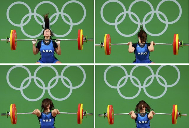 2016 Rio Olympics, Weightlifting, Final, Women's 63kg, Riocentro, Pavilion 2, Rio de Janeiro, Brazil on August 9, 2016. Combination photo of Joana Palacios (ARG) of Argentina as she competes. (Photo by Yves Herman/Reuters)