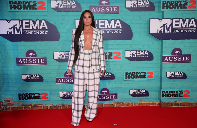 Singer Demi Lovato arrives at the 2017 MTV Europe Music Awards at Wembley Arena in London, Britain, November 12, 2017. (Photo by Hannah McKay/Reuters)